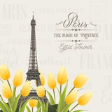 Eiffel tower and Tulip bouquet. Spring in Paris sign. Tulip bouquet over gray text pattern. Elegant print template. Vector illustration.