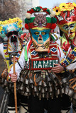 PERNIK, BULGARIA - JANUARY 29, 2017 - Masquerade festival Surva in Pernik, Bulgaria. People with mask called Kukeri dance and perform to scare the evil spirits