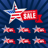 Presidents day USA sale dark blue. Presidents Day Sale discount labels vector illustration USA flag on background in star and red ribbon