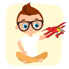 Young Boy with glasses and toy plane. Boy playing with airplane. Vector illustration eps 10 isolated on white background. Flat cartoon style.