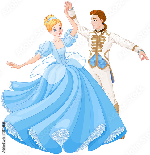 Staande foto Sprookjeswereld The Ball Dance of Cinderella and Prince