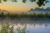 Dinkel River at foggy sunrise