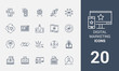 Digital marketing line icons.