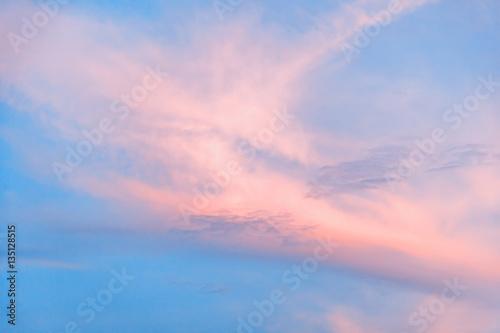 Fotobehang Lichtroze pink and blue sunset sky, pastel colour