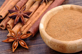 Cinnamon with anise star on wooden background