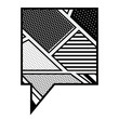 monochrome rounded square callout in pop art vector illustration
