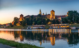 Quay in the evening, Krakow, Poland