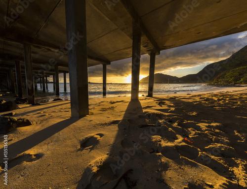Poster Makai Research Pier Pillars at Sunrise