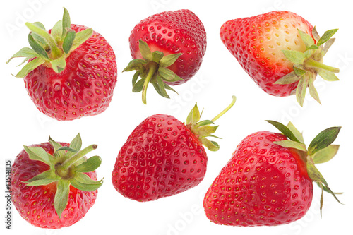 Poster Strawberry fruit collection on white