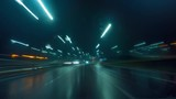Fast driving car on night road, time-lapse