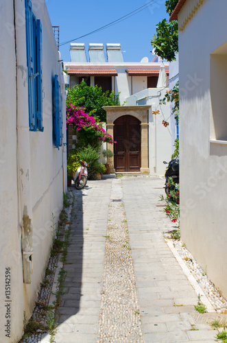 White narrow street of Koskinou, Rhodes, Greece