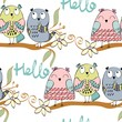 illustration with cartoon owls sitting on the branches