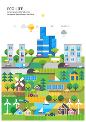 Abstract illustrations - Ecologically clean nature, the modern city and detached production. Transport. Renewable energy. Ecosystem infographics © bukhavets