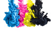 Quadro color splashes of ink in cyan magenta yellow black as symbol for subtractive CMYK color blending