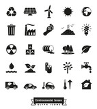 Environmental Issues Glyph icons set. Collection of Environment and Climate related vector icons - 135156304
