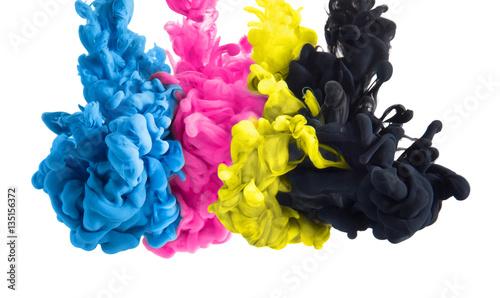 color splashes of ink in cyan magenta yellow black as symbol for subtractive CMYK color blending