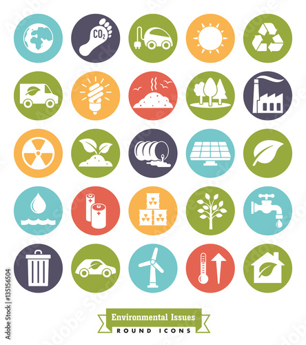 Environmental Issues solid round color icons set. Collection of Environment and Climate related vector icons