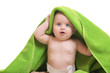 Quadro Cute baby with towel on white background