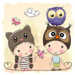 Boy and Girl with Cute Owl