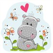 Cute Hippo with flowers and butterflies