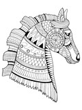 Horse coloring book vector illustration