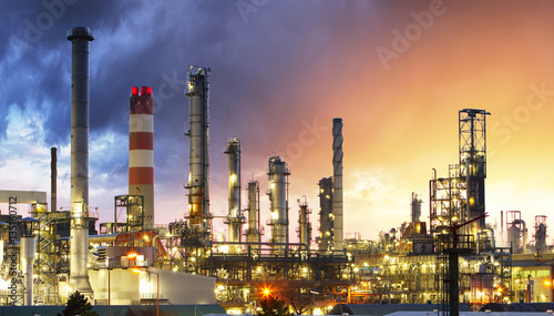 Oil Industry Refinery factory at Sunset, Petroleum, petrochemica