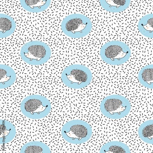 Seamless pattern with cute watercolor hedgehogs. Vector kids background. - 135164114