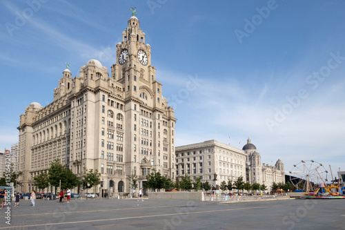 Poster Liverpool Royal Liver building on the Mersey waterfront