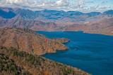 Lake Chuzenji from Hangetsuyama observation deck in autumn season.