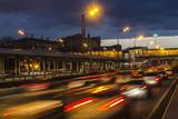 traffic on highway in dusk,