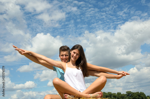 Summer feeling, meditation, relaxing: young happy couple in love :)