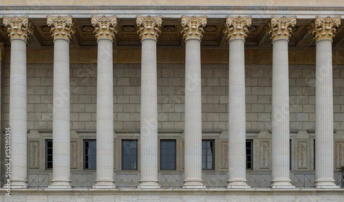 Colonnade of a building in neoclassical style with corinthian columns