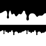 Fototapety Black paint dripping isolated on white background. flat dark oil is falling from the top of the image and bottom. seamless texture vector. Blot.