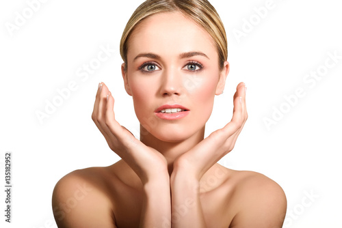 Poster Beautiful blonde woman with clean fresh skin close up