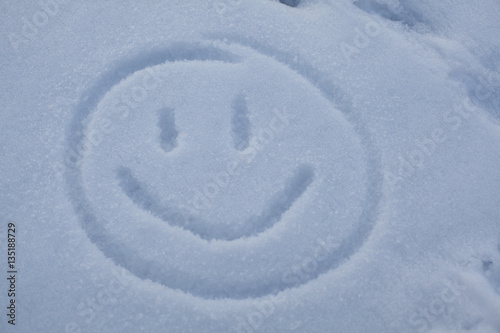 Smiley Symbol written in snow Poster