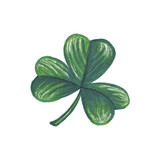 St Patricks Day Illustration Leaf Hand-Painted Green Shamrock