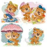 Fototapety Set vector clip art illustrations of funny teddy bears