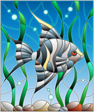 Illustration in stained glass style fish scalar on the background of water and algae