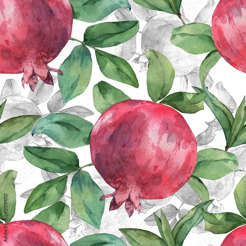 Seamless pattern with pomegranate and leaves on a white background. Watercolor handmade drawing. - 135194113