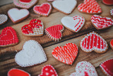 Red heart cookies on wooden background Valentines day