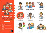 Business people. Profiles of everyday professional men and women in various job roles in smart clothes. Vector illustration