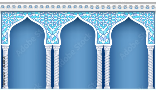 Fototapeta Palace Arcade in an old oriental style. Facade of a classical building. Vector graphics