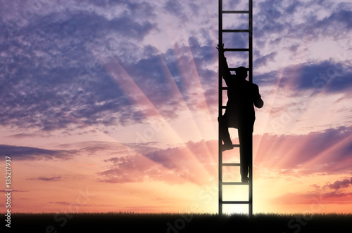 Man climbs the stairs to sky
