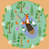 Vector drawn card with a forest and fox in a boat.