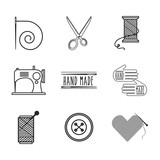 tailor shop icons around over white background. hand made concept. vector illustration