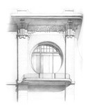 Pencil drawing of a facade with window - 135221176