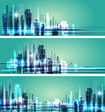 Abstract city scene on night time, cityscape vector design - 135223370