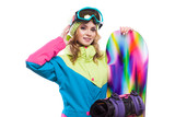blonde girl with snowboard isolated