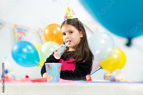 Poster Little girl celebrates birthday