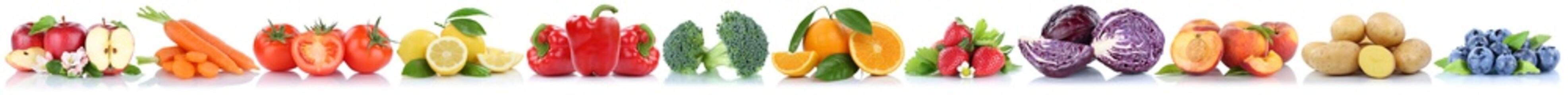 Obst und Gemüse Früchte Apfel Tomaten Beeren Pfirsich frische